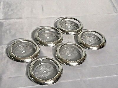 Sterling silver rimmed Coasters , FRANK M WHITTING