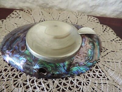 Art Deco Paua Shell & Silver Ashtray Scarce Collectable Ataahua NZ Sticker ExC