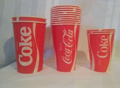Vintage Coca Cola Assorted Lot of 15 NOS Wax Paper Cups-7/12/16oz-MINT Condition
