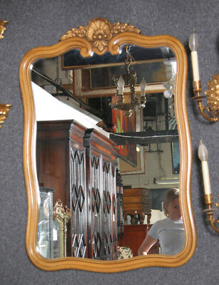 Wood Wall Mirror with Ornate Top
