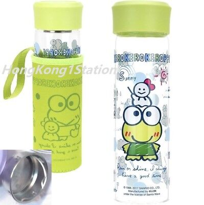 Keroppi Lead-Free Glass Water Bottle Tea Infuser Filter Tumbler Coffee Mug Cup