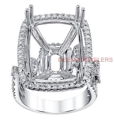 Estate Ring Setting 1.28ct Diamond Semi Mount 18k White Gold Emerald
