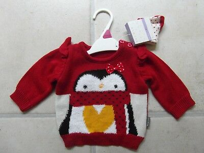 NEW TAGS: BABY GIRL NEW BORN  50 cm - 56 cm RED KNITTED CHRISTMAS JUMPER & SOCKS