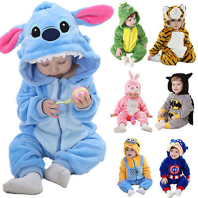 Boys Girl Baby Babygrow Halloween Outfit Animal Hero Toddler Fancy Dress Costume