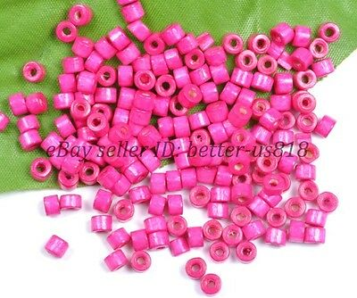 500pcs Bead Wood Tube Spacer Beads Plum & 4x3MM