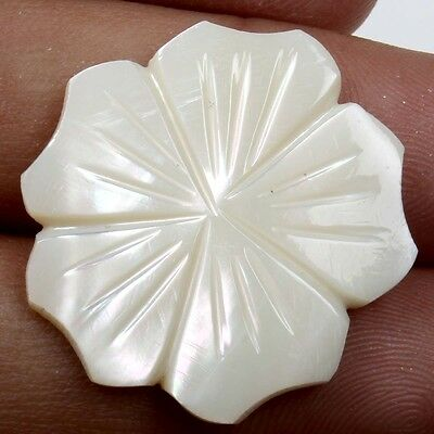 Elegant Flower Carving WHITE MOTHER OF PEARL 26x26 mm Gemstone 17.5 Carats eBay