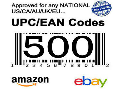 500 UPC EAN Barcodes Numbers Lifetime Guarantee