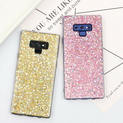 For Samsung Galaxy S8 S9 Note 9 A6 2018 Bling Glitter Soft Gel Rubber Case Cover