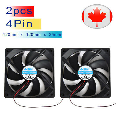 2pcs 120mm 120x25mm 12V 4Pin DC Brushless for PC CPU Computer Case Cooling Fan