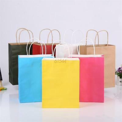 12 Colors Luxury Shopping Gift Bags Kraft Paper Gift Bag Handles Recyclable Loot