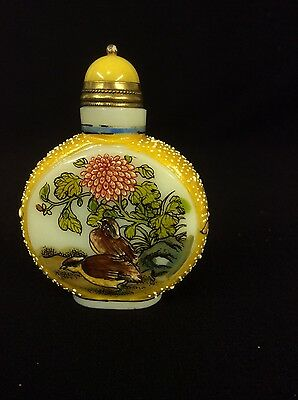 Vintage Chinese Hand Painted Peking Glass Snuff Bottle