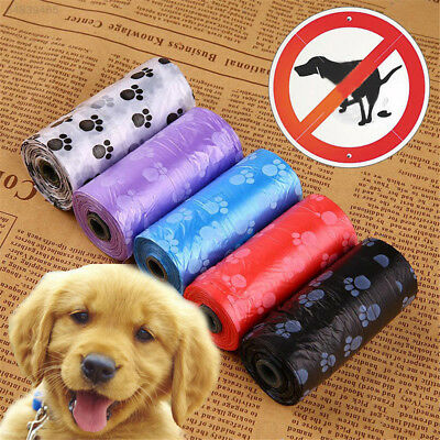 Rolls Pet Dogs Waste Poop Bags Pick Up Clean Up Rubbish Plastic Bag Paw Printed