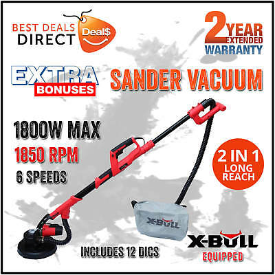 NEW X-BULL 1800W Drywall Sander with Automatic Vacuum System Plaster Gyprock 20L