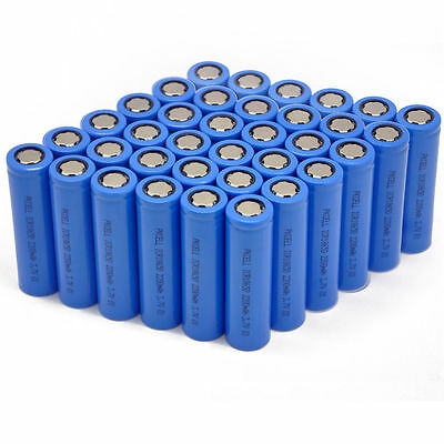 50Pcs PKCELL 3.7V 18650 Battery 2200mAh Lithium ion Rechargeable For Flashlight