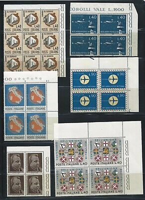 Italy 1965-1966 Selection of blocks of 4 to 9 Mint Never Hinged