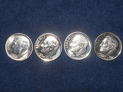 10C Mixed Roosevelt Dime Lot  1954 Gem, 1956 Gem, 1962, 1964  ~ALL 4 PROOFS~