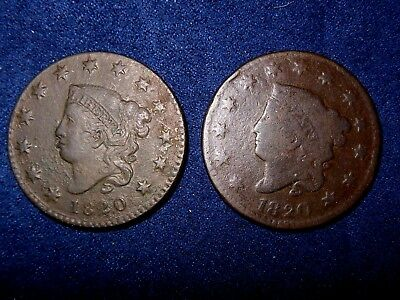1C Coronet Head Large Cent Mixed Lot 1820 Small Date and 1820 Large Date