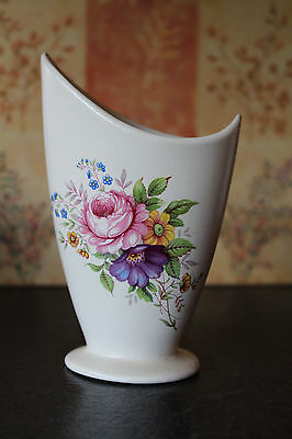 Vintage Axe Vale Pottery Unusual Shape Posy Vase With Floral Pattern On Side