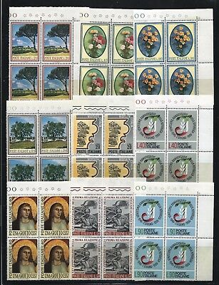 Italy 1966-1967 Selection of blocks of 4 Mint Never Hinged