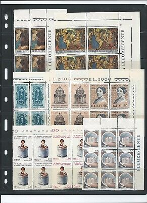 Italy 1970-1980 Selection of blocks of 4 to 9 Mint Never Hinged