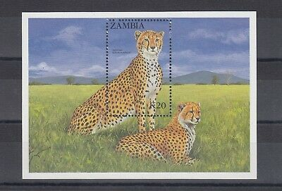 Timbre Stamp Bloc Zambie Y&t#15 Guepard Cheetah Neuf**/mnh-Mint 1987 ~A68