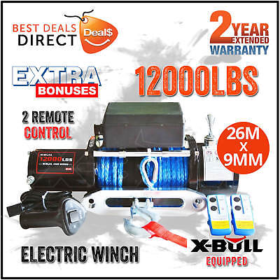 New X-BULL 12000LBS/5443KGS Synthetic Rope Electric Winch 4WD ATV BOAT TRUCK