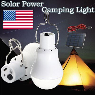 15W Portable Solar Powered LED Rechargeable Bulb Light Outdoor Camping Lamp NEW