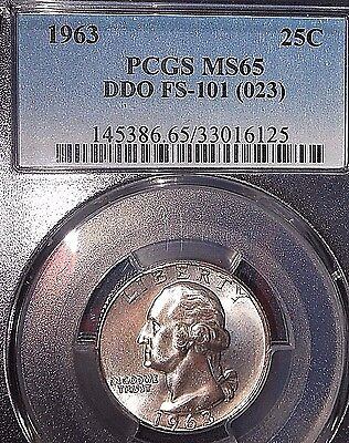 1963 25C DDO FS-101 Washington Quarter PCGS MS65 ~MINT ERROR - STUNNING COIN!~