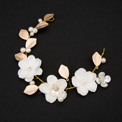 Pearl Flower Leaf Crystal Rhinestone Wedding Bridal Headband Hair Band Tiara