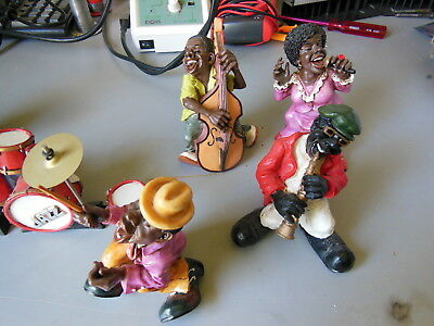 Set of Hand Made Jazz Musician Figurines Broken Drums