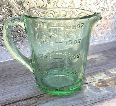 Green Depression Glass Jug Art Deco Vintage Collectible Kitchenalia