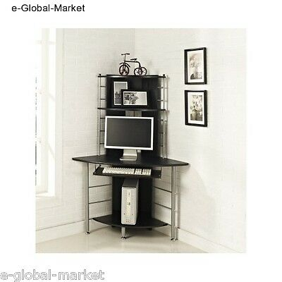 Corner Computer Desk Table PC Furniture Laptop Office WorkStation Keyboard BLACK