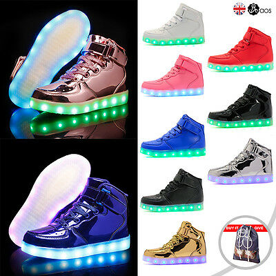 Unisex Adult LED Light Up Luminous Shoes High-tops Casual Sneakers Trainers AU