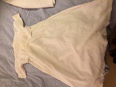 Antique vintage lawn cotton christening gown baby doll English lace embroidery