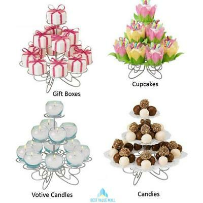 High Quality Wedding Party 3 Tier Cup Cake Stand Holder Kitchen Metal Display UK