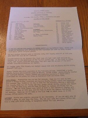 Bristol City V Barnsley Friendly sheet programme- 16/08/1982