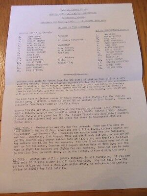 Bristol City V Bournemouth Friendly Sheet Programme- 06/08/1983.
