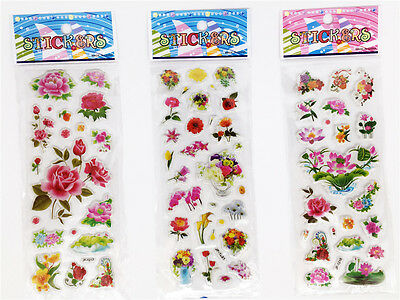 "3 Sheets Kids Favor Party Gift 3d Embellishments  Wall Stickers Lot ""Flowers""New"