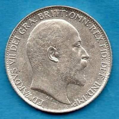 1908 SIXPENCE COIN. KING EDWARD VII. STERLING SILVER 6d.  TANNER.