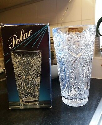 Stunning boxed heavy crystal 24% vase 25cm high BOHEMIA made in czech republic