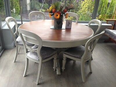 Antique Round Dining Table & 6 - 8 Seater Chairs French Farmhouse Shabby Chic