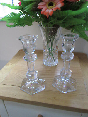 Beautiful Matching Pair Of Candlesticks Ireana 24% Lead crystal Candle sticks