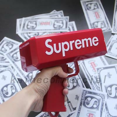 Red Supreme Cash Cannon Fake Money Gun Logo Bills Tricky Joke Toys In Box Party