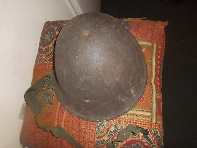 WW2 metal helmet with chinstrap and liner