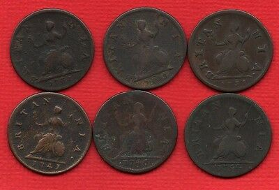 1731 1733 1735 1741 1746 1754 COPPER FARTHING COINS OF KING GEORGE II.  6 X 1/4d
