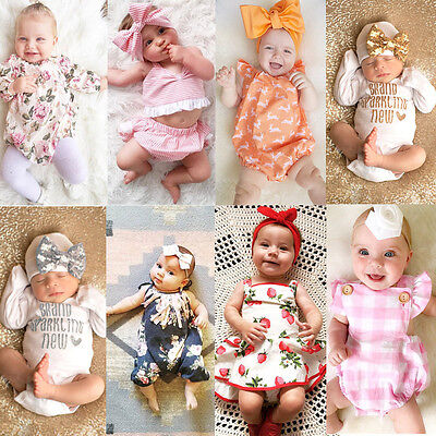 Newborn Baby Girl Boy Clothes Bodysuit Romper Jumpsuit Playsuit Outfits Clothes