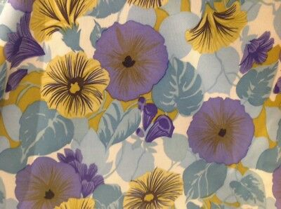 Retro Vintage Bri Nylon Fabric Morning Glory Floral 120 Cm X 160 Cm