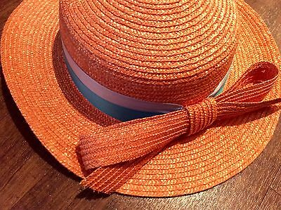1970s Italian Orange Straw Hat Child Size