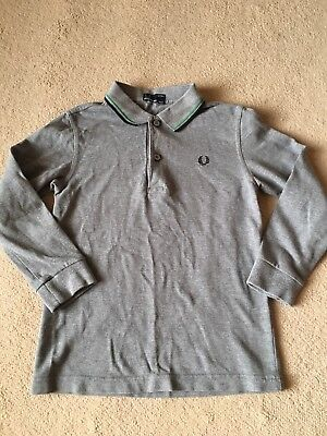 Boys Fred Perry Long Sleeved Polo Shirt In Brilliant Condition 7-8 Years
