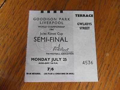 1966 World Cup semi final ticket- West Germany V Russia at Goodison Park.